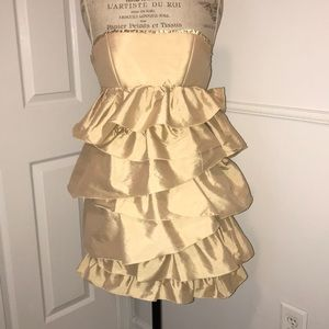 AQUA gold strapless dress